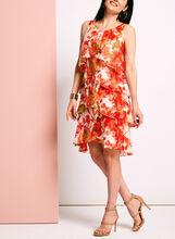 Robe en mousseline volantée fleurie, Orange, hi-res