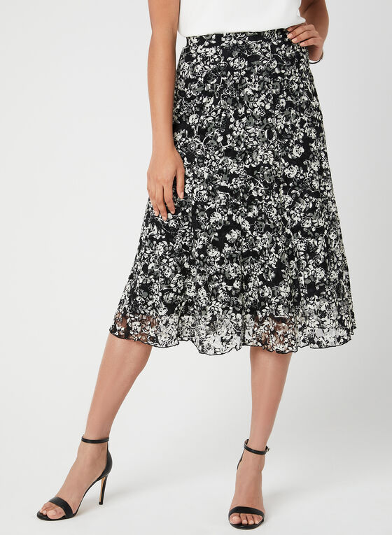 Floral Print Lace Skirt, Black, hi-res