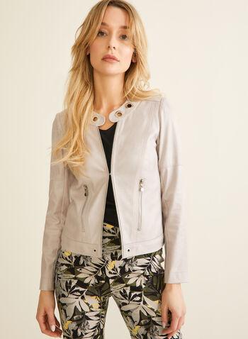 Vex - Blazer en faux cuir et détails œillets, Gris,  blazer, faux cuir, faux suède, zips, œillets, manches longues, épaulettes, printemps été 2020