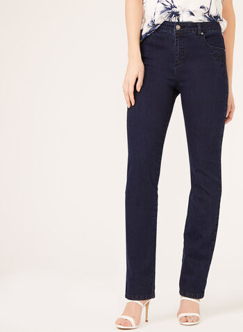 Simon Chang - Glitter Enhanced Embroidered Signature Fit Jeans, Blue, hi-res