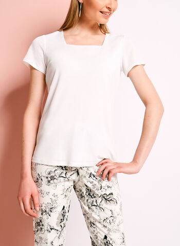 Double Layer Square Neck Knit Top, Off White, hi-res