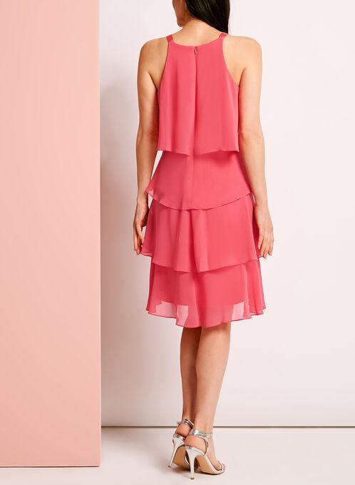 Rhinestone Detail Tiered Dress, Pink, hi-res