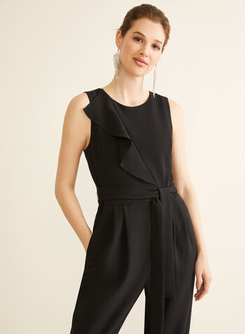 Ruffle Detail Sleeveless Jumpsuit, Black,  jumpsuit, sleeveless, ruffle, tie, slim leg, crepe, pockets, spring summer 2020