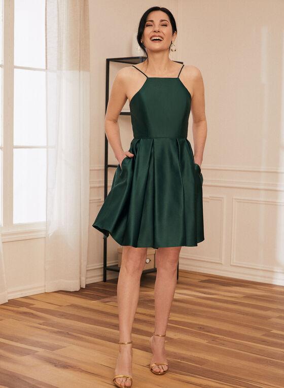 Robe courte satinée à jupe bouffante, Vert