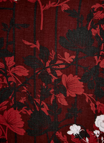 Foulard oblong fleuri, Rouge, hi-res,  foulard, oblong, fleurs, feuilles,bordure contrastante, automne hiver 2019