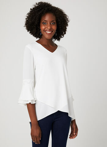 Lily Moss - Lace Detail Tunic Blouse, Off White, hi-res