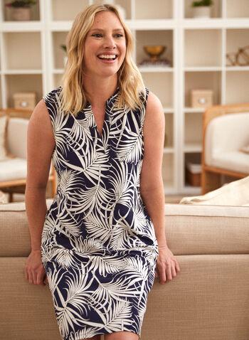 Sleeveless Tropical Print Dress, Blue,  spring summer 2021, made in Canada, stand collar, split neck, V neck, sleeveless, A line, fit & flare, pockets, tropical print, leaf print, dress, sundress