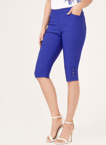 Simon Chang - Pull-On Capri Pants, Blue, hi-res