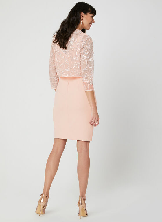 Jessica Howard – Soutache Lace Bolero Dress, Pink, hi-res