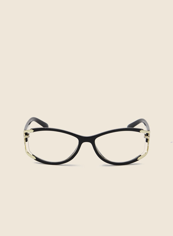 Floral Detail Reading Glasses, Black