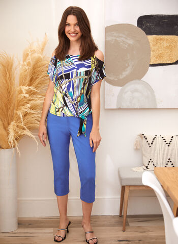 Chain Print Blouse, Green,  spring summer 2021, tops, blouses, open shoulders, scoop neck, made in Canada, round neck, geo print, chains,