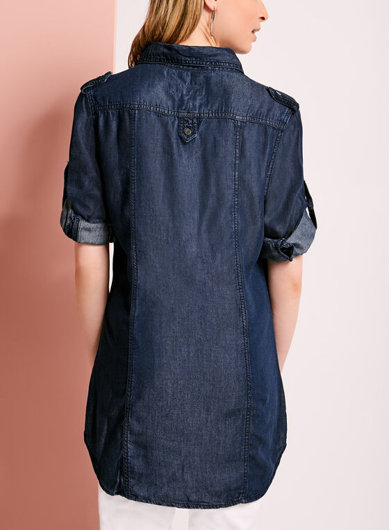 Button Down Denim Tencel Shirt, Blue, hi-res