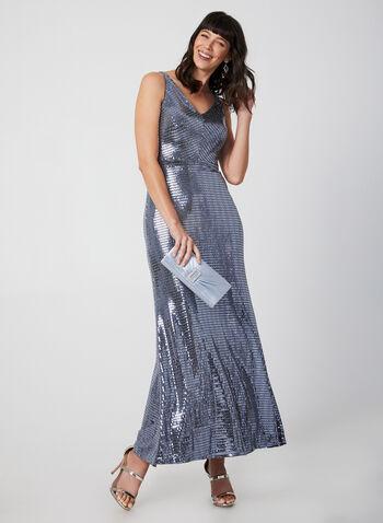Sleeveless Sequin Dress, Silver, hi-res,  evening dress, sequin, sleeveless, v-neck, fall 2019