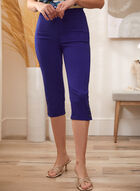 Button Detail Pull-On Capris, Blue