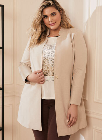 One Button Redingote Jacket , Off White,  jacket, redingote, long sleeves, one button, pockets