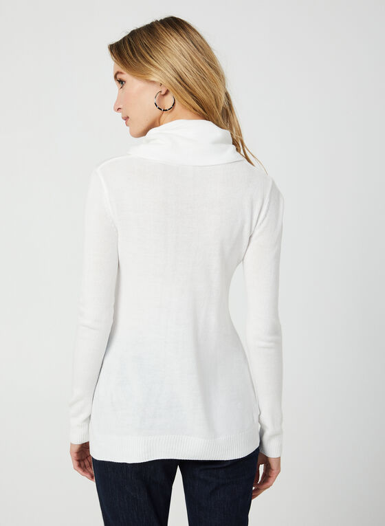 Long Sleeve Cowl Neck Sweater, Off White