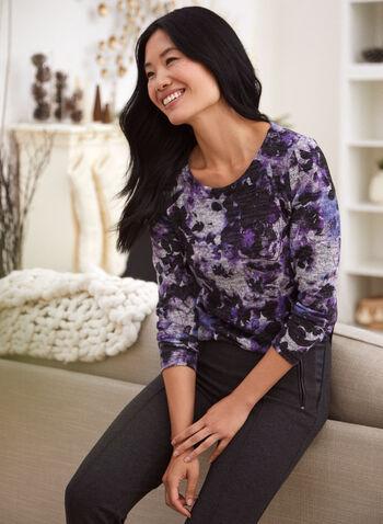 Haut à manches longues et motif floral, Violet,  automne 2021, fait au Canada, haut, pull, manches longues, tricot, encolure arrondie, col rond, fleuri, motif floral, fleur