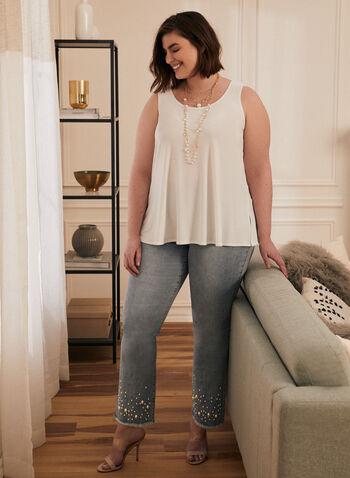 Joseph Ribkoff - Pearl Embellished Boot Cut Jeans, Blue,  jeans, denim, embellished, pearl, boot cut, slit, pockets, frayed, fringe, ribkoff, lyman, spring summer 2021