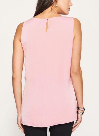 Sleeveless Satin Split Front Blouse, Pink, hi-res