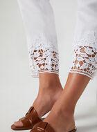 Pantalon coupe moderne en lin mélangé, Blanc
