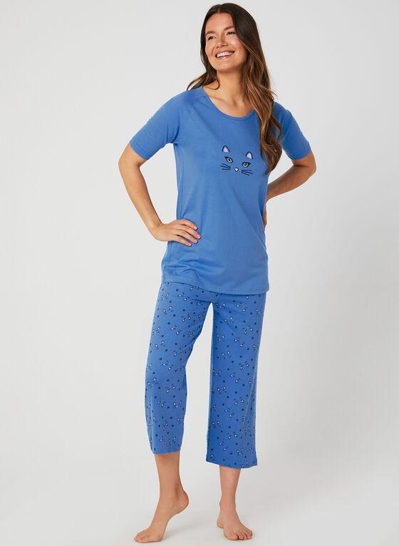 Bellina - Cat Print Pyjama Set, Blue, hi-res