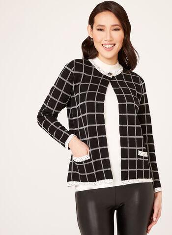 Alison Sheri - Check Print Knit Cardigan, , hi-res