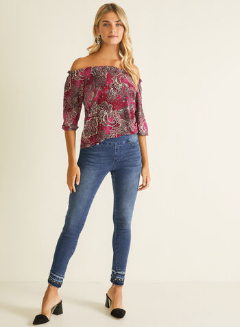 Paisley Print Bardot Neckline Top, Purple,  top, bardot, paisley, balloon sleeves, jersey, fall winter 2020