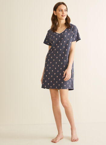 Claudel Lingerie - Printed Nightshirt, Grey,  nightshirt, pyjamas, sleepwear, print, cotton, tropical, spring summer 2020