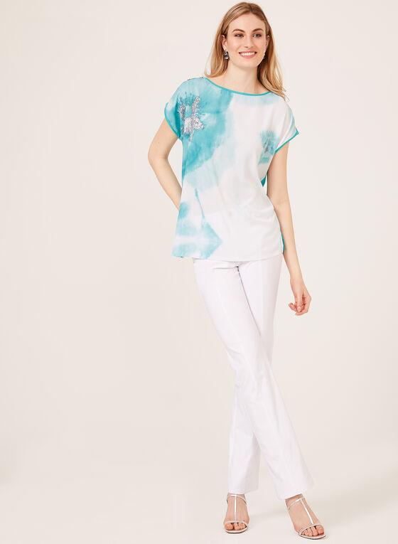 T-shirt bi-matière motif abstrait, Bleu, hi-res