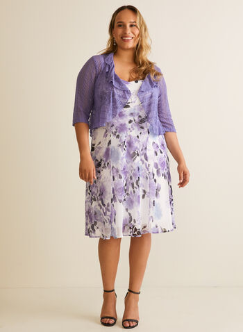 Floral Print Dress & Cardigan, Purple,  day dress, cardigan, chiffon, v-neck, sleeveless, 3/4 sleeves, open front, cascade, ruffled, floral, fit & flare, chevron, spring summer 2020