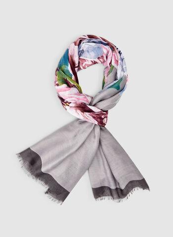 Foulard léger fleuri, Gris, hi-res,  foulard, léger, fleuri, automne hiver 2019