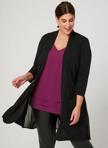 Linea Domani - Long Pleated Open Front Blouse, Black, hi-res