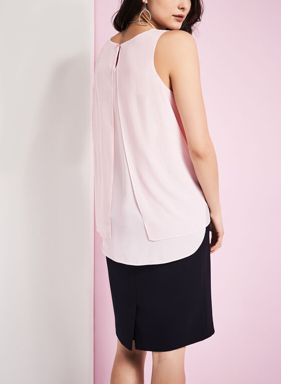 Sleeveless Asymmetric Blouse, Pink, hi-res