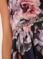 Floral Print Beaded Chiffon Dress, Blue, hi-res