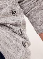 Pull tunique aspect chiné et boutons décoratifs, Argent, hi-res