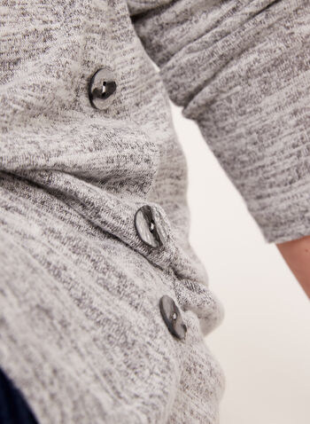Long Sleeve Heather Knit Tunic, Silver, hi-res