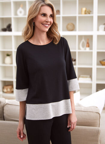 Colour Block 3/4 Sleeve Top, Black,  made in Canada, online exclusive, top, round neck, 3/4 sleeves, contrast hem, contrast cuffs, side slits, French terry, fall winter 2021