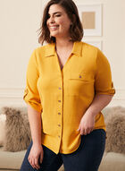 Button Front Crepe Blouse, Yellow
