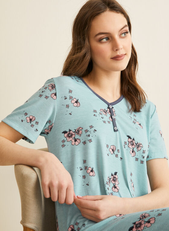Comfort & Co. - Floral Print Nightgown, Blue