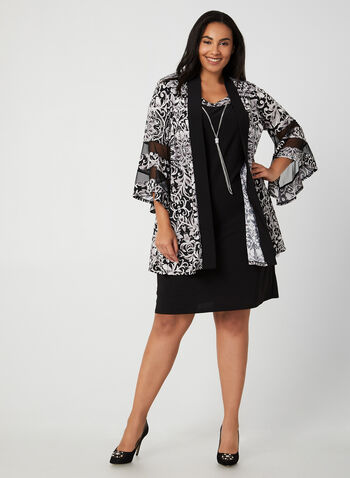 Jersey Dress With Duster, Black, hi-res,  dress, cocktail dress, jersey, duster, sleeveless, 3/4 sleeves, long sleeves, fall 2019, winter 2019