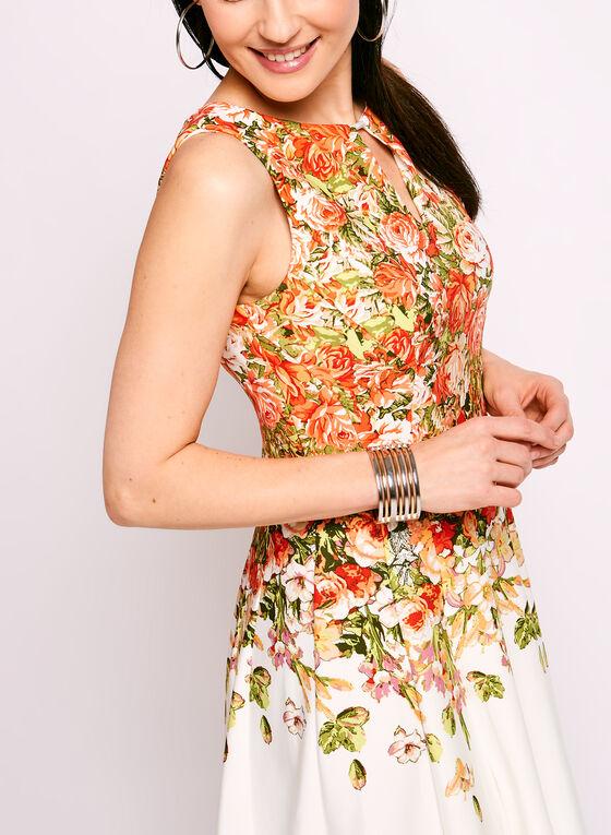 Robe ajustée évasée à fleurs et col ajouré, Orange, hi-res