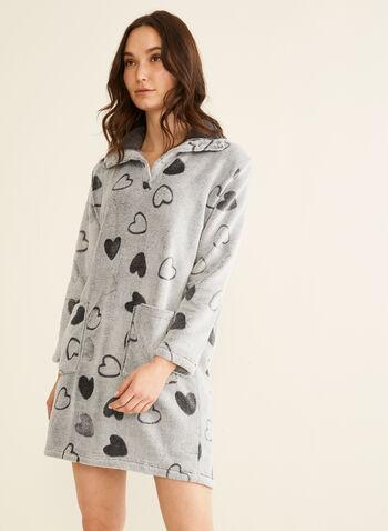Karmilla Lingerie - Plush Heart Print Nightgown, Grey,  plush nightgown, nightgown, sleepwear, pyjama, heart print, plush, holidays, fall 2019, winter 2019