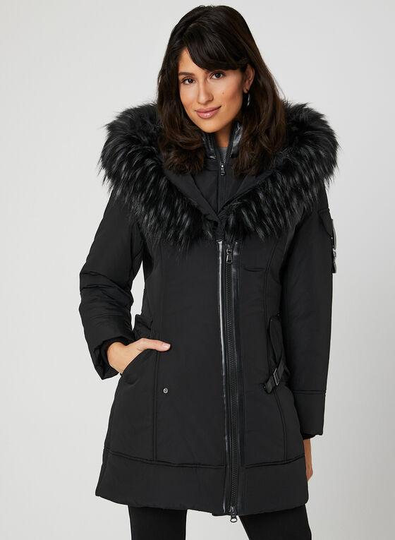 Northside - Faux Fur Trim Quilted Coat, Black, hi-res