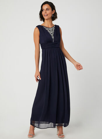 Sleeveless Pleated Dress, Blue, hi-res,  mesh, long dress, crystals, illusion neck, scoop neck, fall 2019, winter 2019