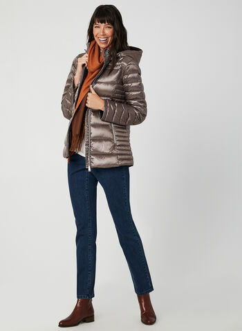 Manteau en duvet compressible , Brun, hi-res,  automne hiver 2019, manteau, matelassé, compressible, capuchon, amovible, col montant , manches longues, poches, zip, duvet, plumes, cordons