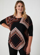 Blouse tunique à imprimé foulard, Noir, hi-res