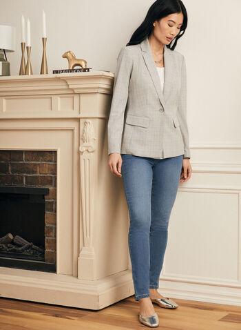 Plaid Notch Collar Jacket, Grey,  jacket, notch collar, long sleeve, tartan, buttons, spring summer 2021, plaid, motif, pattern