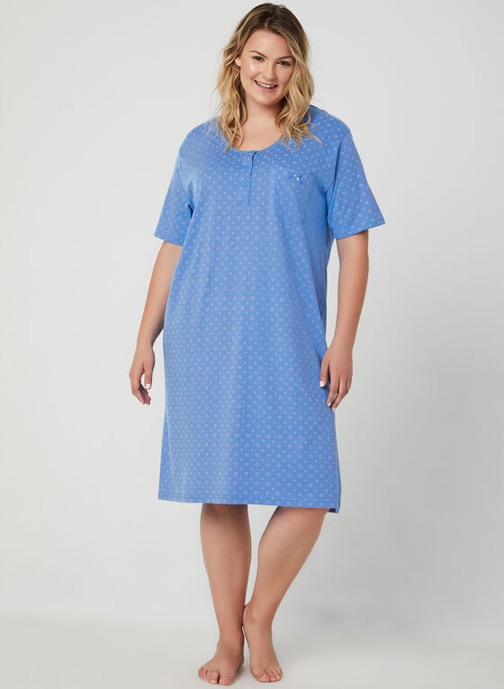 Bellina - Floral Print Nightgown, Blue, hi-res