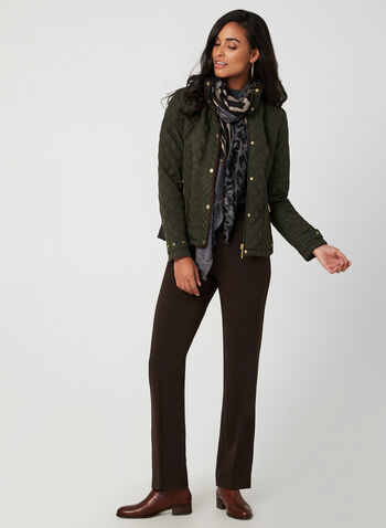 Weatherproof - Quilted Coat, Green, hi-res,  jacket, quilted, weatherproof, long sleeves, suede, zipper, stretchy,  pockets, fall 2019