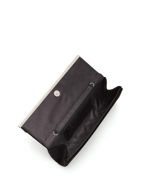 Pochette de soirée velours et détail argenté, Noir, hi-res